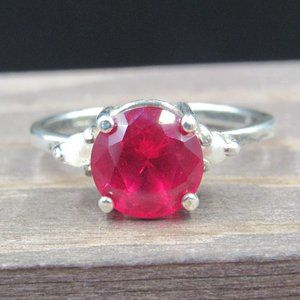 Size 7.25 Sterling Silver Rustic Ruby & Pearl Ring